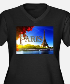 Paris and Eiffel Tower on the Seine. Plus Size T-S
