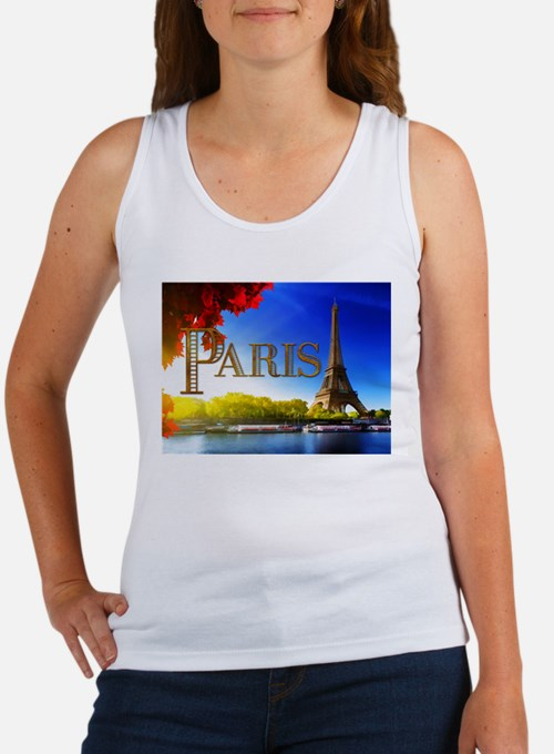 Paris and Eiffel Tower on the Seine. Tank Top