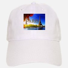 Paris and Eiffel Tower on the Seine. Baseball Baseball Baseball Cap
