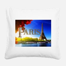 Paris and Eiffel Tower on the Seine. Square Canvas