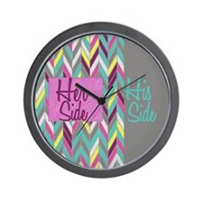 Her Side His Side Chevron Wall Clock