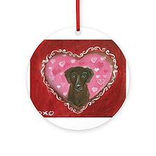 Chocolate Labrador Love Heart Valentine Ornament (