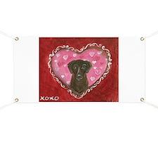 Chocolate Labrador Love Heart Valentine Banner
