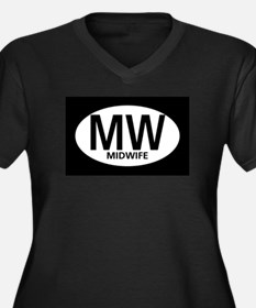 Midwife Black Oval Women's Plus Size V-Neck Dark T