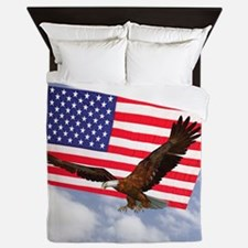 American Flag And Eagle Queen Duvet