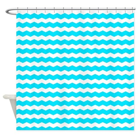 Medium Turquoise And White Zigzags Shower Curtain By