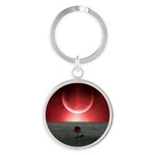 Rose and Planet - Love Theme Round Keychain