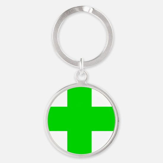 Medical Marijuana Cross Round Keychain