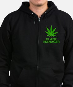 Plant Manager Weed Pot Cannabis Zip Hoodie (dark)