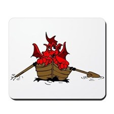 Red Dragon On Boat Mousepad