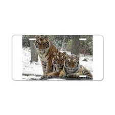 TIGER IN THE SNOW Aluminum License Plate