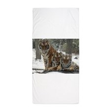 TIGER IN THE SNOW Beach Towel