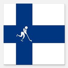 "Team Ice Hockey Finland Square Car Magnet 3"" x 3"""