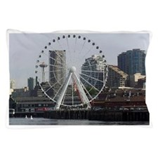 Seattle Big Wheel & Space Needle  Pillow Case