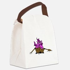 Pink Dragon On Boat Canvas Lunch Bag