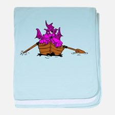 Pink Dragon On Boat baby blanket