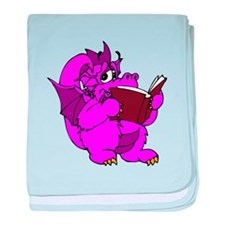 Pink Dragon Reading baby blanket