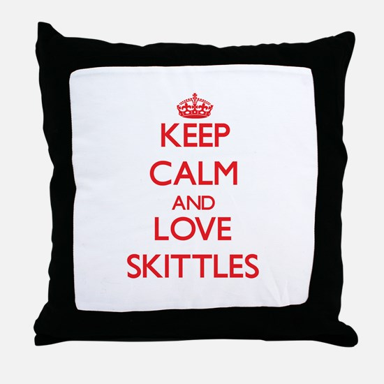 Keep calm and love Skittles Throw Pillow