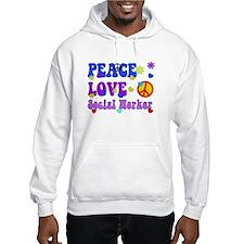 Social worker peace love 3 Hoodie