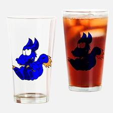Blue Funny Dragon Drinking Glass