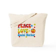 Social Worker Peace Love Tote Bag