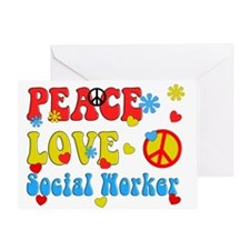 Social Worker Peace Love Greeting Cards