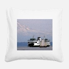 Ferry Boat Drawing with Mt. R Square Canvas Pillow