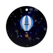 I Love America - hot air balloon wi Round Ornament