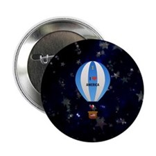 "I Love America - hot air balloon with 2.25"" Button"