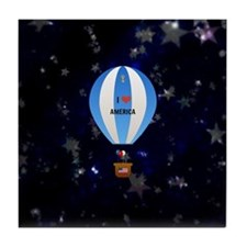 I Love America - hot air balloon with Tile Coaster