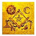 Freemason Lampskin Apron Square Car Magnet 3