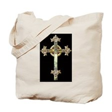 Gold Cross on Black Tote Bag