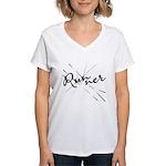Abstract Runner Women's V-Neck T-Shirt