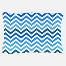 Blue shades zigzags Pillow Case