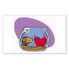 Goldfish Heart Sticker (Rect.)