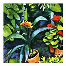 "August Macke - Flowers i Square Car Magnet 3"" x 3"""