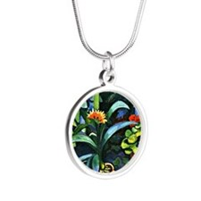 August Macke - Flowers in th Silver Round Necklace