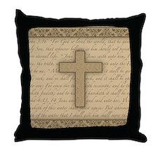 Cross W/ Bible Verses Throw Pillow