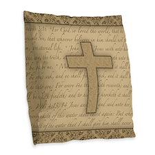 Cross W/ Bible Verses Burlap Burlap Throw Pillow