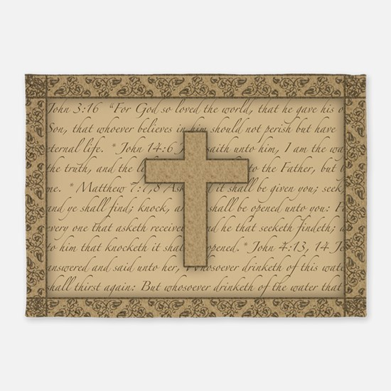 Cross W/ Bible Verses 5'X7'area 5'X7'area Rug