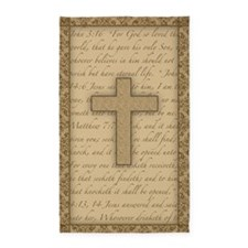 Cross W/ Bible Verses 3'X5' Area 3' 3'X5' Area Rug