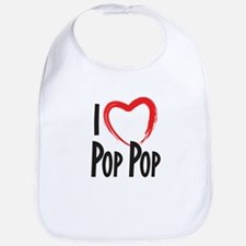I heart pop pop, I love pop pop Bib
