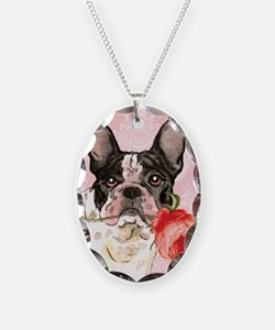 French Bulldog Rose Necklace