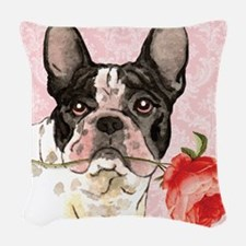 French Bulldog Rose Woven Throw Pillow