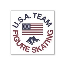 "U.S.A. Team Figure Skating Square Sticker 3"" x 3"""