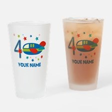 Airplane 4th Birthday Custom Drinking Glass