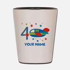 Airplane 4th Birthday Custom Shot Glass