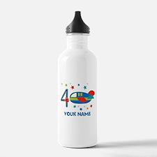 Airplane 4th Birthday Custom Water Bottle