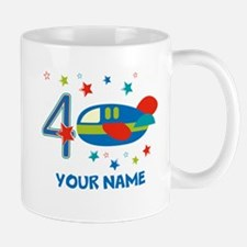 Airplane 4th Birthday Custom Mugs