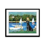 Sailboats & Black Lab Framed Panel Print